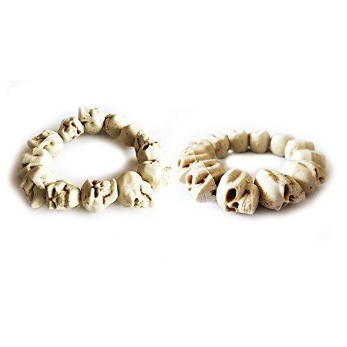 (2 Pieces Skull Bracelet 100% Plastic Original Bone Color Halloween Props Party Accessories)