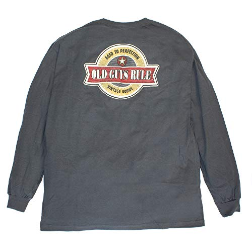 OLD GUYS RULE Men's Vintage Star Long Sleeve Shirt (X-Large) Charcoal
