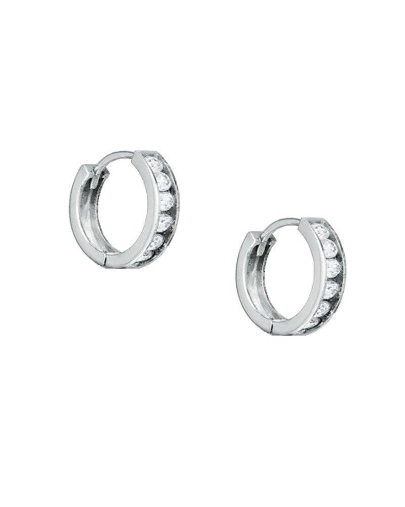 Clear CZ 14k White Gold Channel Set Huggie Hoop Earrings 0.5 Inch