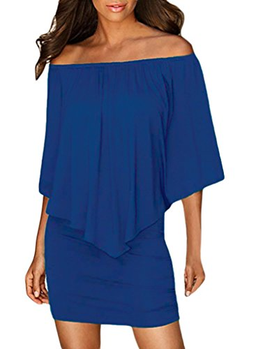 - Sidefeel Women Off Shoulder Ruffles Party Mini Dress Large Blue