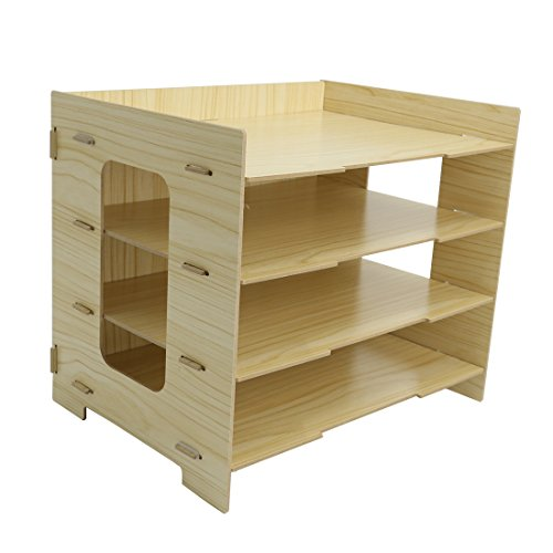 PeleusTech® 4 Layers Wood Storage Rack Durable Office Organization for File Desktop Organizer Shelf for Books Documents - (Wood Grain) by PeleusTech® (Image #3)