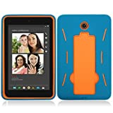 For Dell Venue 7 Layer Case, 3 in 1 w/Stand Turquoise Skin+Orange Cover