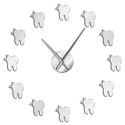 The Geeky Days Dentist Frameless 3D Wall Clock Dental Clinic Hospital Modern Design Room Art Decor Clock (Silver)