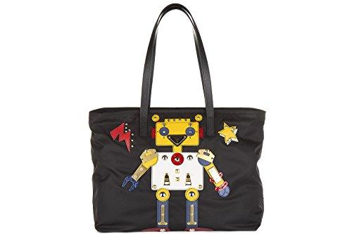 Prada borsa donna a spalla shopping nylon nuova robot nero