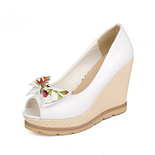 AmoonyFashion Womens Assorted Color PU High-Heels Peep-Toe Pull-on Sandals White