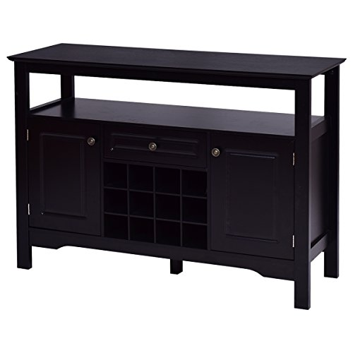 Giantex Black Buffet Server Wood Cabinet Sideboard Cupboard Table With/wine (Furniture Server)