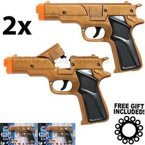 Gun Cap Pistol - LOT OF 2 - GOLDEN CAP GUN PISTOL REVOLVER DETECTIVE POLICE COWBOY TOY COLT 45