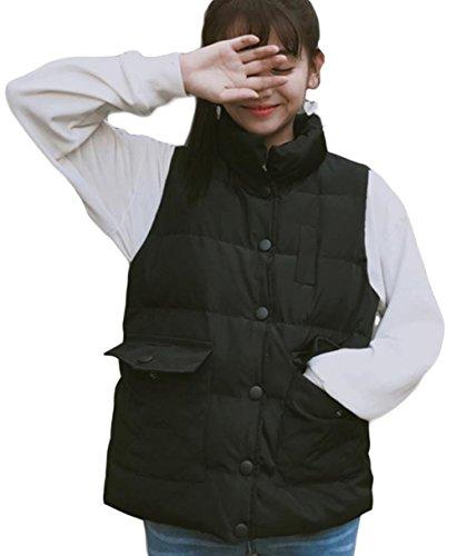 印刷するアフリカ王室ZhongJue(ジュージェン)レディース ショートベスト 中綿入れ ベスト ゆったり 韓国風 おしゃれ ベスト チョッキ ジレー 可愛い 中綿ベスト 軽量 黒 ピンク