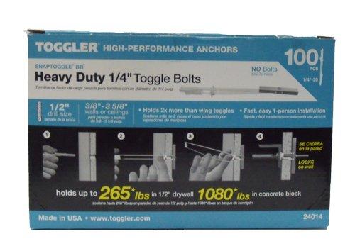 """24014 BB TOGGLER [1/4""""-20] SNAPTOGGLE® toggle bolt, Grip Range 3/8"""" - 3 5/8"""" 100 /Box No Bolts"""