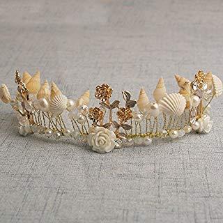 - Quantity 1x Bridal jewelry hand Headdress _conch_ pearl _shells_ beaded Crown Tiara Party Wedding Headband Women Bridal Princess Birthday Girl Gift _western_ Bridal _styling_ Hair Ornaments _Modify