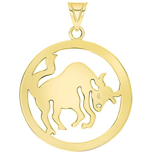 - Solid 14k Yellow Gold Round Taurus Zodiac Sign Bull Disc Pendant