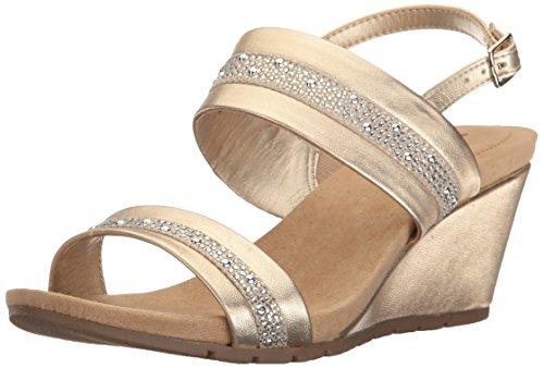 Bandolino Women's Greedson Wedge Sandal, Gold, 5.5 M US
