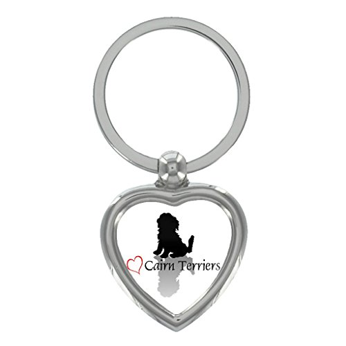 Stylish Heart Cairn Terrier Metal Heart Shape Keyring in Gift Box