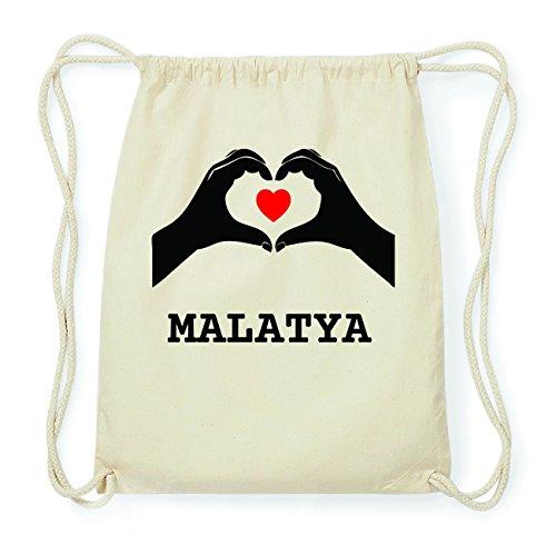 JOllify MALATYA Hipster Turnbeutel Tasche Rucksack aus Baumwolle - Farbe: natur Design: Hände Herz