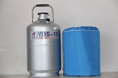 10L Liquid Nitrogen Tank Cryogenic LN2 Dewar Container+3 Pails+Protective Case