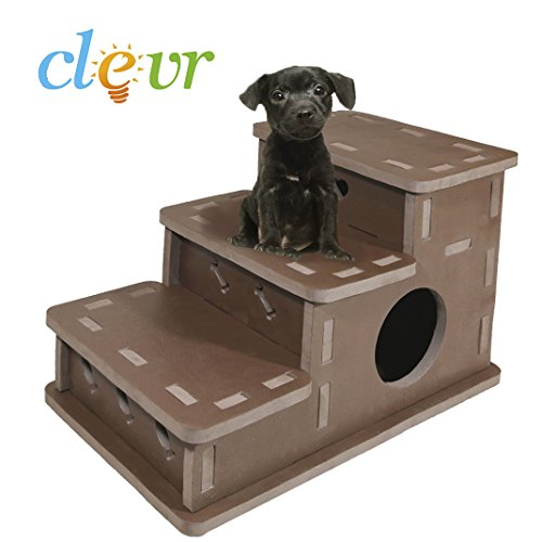 Clevr Interlocking Foam Pet Stairs & Playhouse 3-step Portable Steps Brown