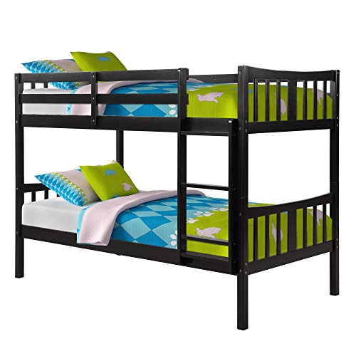 MERITLINE Bunk Bed for Kids, Twin Over Twin Convertible Wooden Bunk Bed Frame with Ladder and Safety Rail, Espresso