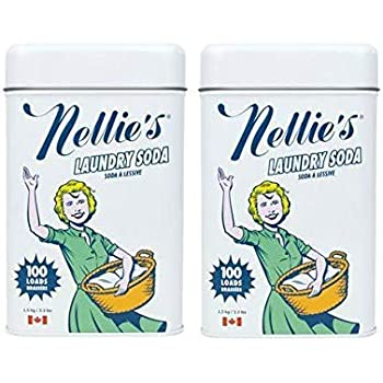 Nellie's Laundry Soda, 100 Load Tin, Non Toxic, Biodegradable, Hypoallergenic, Vegan, Leaping Bunny Certified, 52.8 Oz, Pack of 2