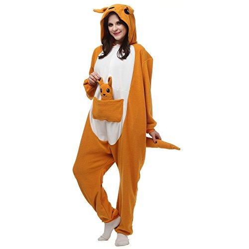 Minion Costume Australia (Unisex Adults Kigurumi Onesie Australia Animal Kangaroo Pajamas Size XL Orange)