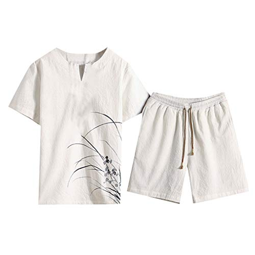 Men's Summer Cotton and Linen Short Sleeve Shorts Set Chinese Style Printing Suit Tracksuit by:iYBUIA White