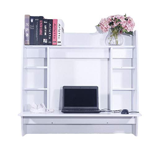 Prountet Home Office Computer Desk Table Floating Wall Mount Desk W/Storage Shelves White by Prountet (Image #5)