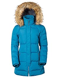 Mountain Warehouse Isla Women's Down Jacket - Detachable Hood, Elasticised Inner Rib Cuffs with Storm Flap with 2 Zipped Front Pockets & 1 Mobile/Mp3 Pocket Dark Teal 14