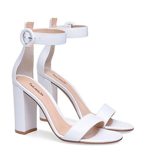 SQY Femmes PU Bout ouvert Pompe Robe Des sandales noir blanc white vduAifNQo