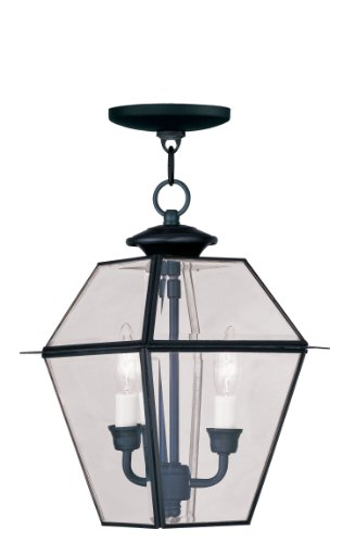 (Livex Lighting 2285-04 Westover 2-Light Outdoor Hanging Lantern, Black)
