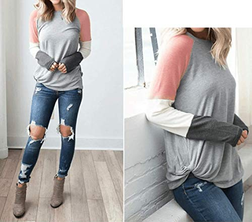 Jumpers Shirts Printemps Hauts Sweat Pulls Femmes Tee Automne Chemises Rond Shirt Col Casual Chemisiers T Blouses Tops Longues Manches Mode Patchwork vrvUgq
