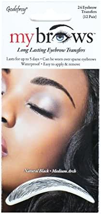Godefroy MyBrows Long Lasting Eyebrow Transfers, Medium Arch, Natural Black, 12-Pairs of Brows