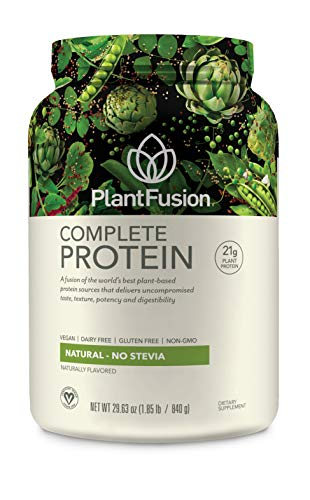 PlantFusion Complete Plant Based Protein Powder, Natural Unflavored, 2 Lb Tub, 30 Servings, 1 Count, Gluten Free, Vegan, Non-GMO, Packaging May (Life Protein Powder Natural)