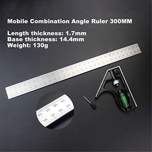 Silver JIUY 300Mm Adjustable Combination Square Angle Ruler 45//90 Degree With Bubble Level Multifunctional Gauge Measuring Tools