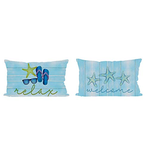ITFRO Set of 2 Sister Gift Hello Summer Sea Starfish Flip Flops Welcome Relax Vintage Retro Wood Texture Lumbar Burlap Throw Pillow Case Cushion Cover Home Sofa Decorative Rectangle 12X20 Inches
