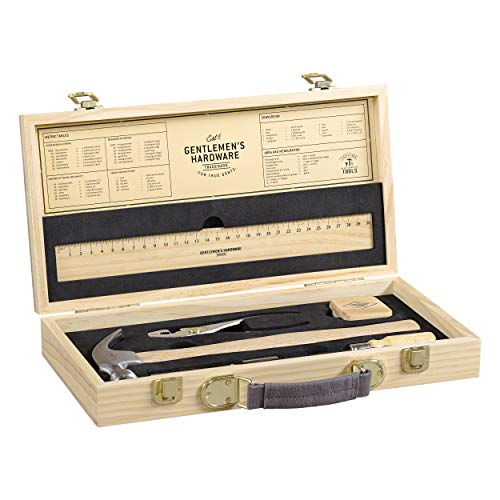 Gentlemen's Hardware Handyman Tool Kit with Pine Wood Storage Box