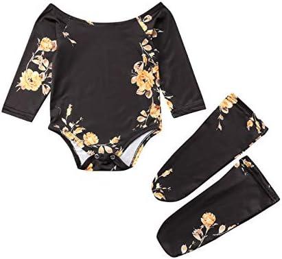 LIXIUQING Weibliche Kleinkinder Kleidung 3PCS Off Off Schulter Einteiliges Kleid 2 Beine Socken Socken Kleidung |Kleidungsset |Mutter & Kind