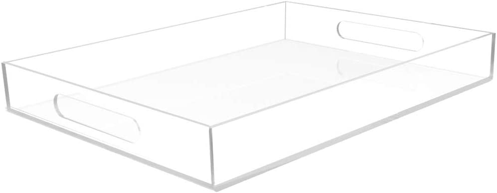 """Vale Arbor Clear Acrylic Tray - Spill Proof - 16"""" x 12"""" Acrylic Tray for Coffee Table, Breakfast, Tea, Food, Butler - Decorative Display, Counter top, Kitchen, Vanity Serve Tray with Handles"""