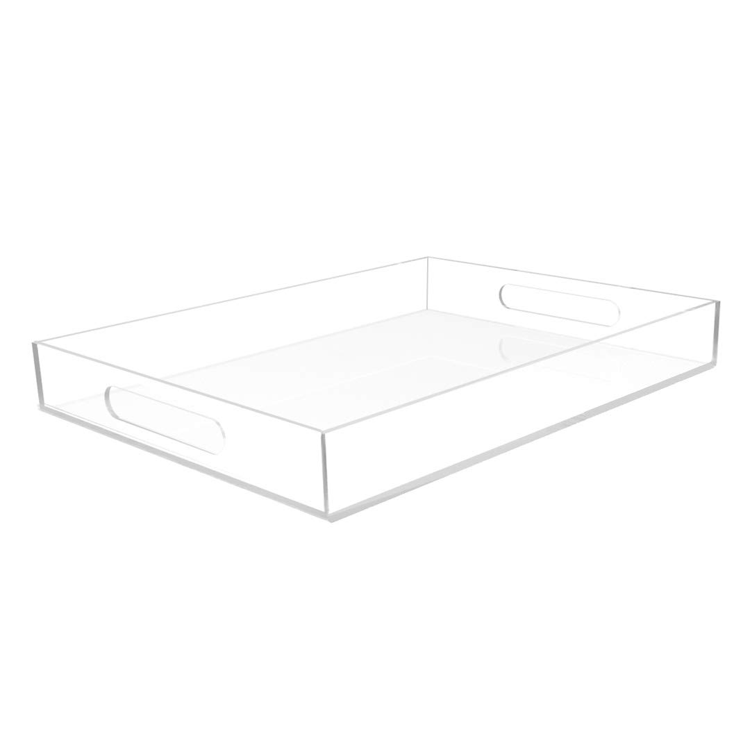 Vale Arbor Clear Acrylic Tray - Spill Proof - 16'' x 12'' Acrylic Tray for Coffee Table, Breakfast, Tea, Food, Butler - Decorative Display, Counter top, Kitchen, Vanity Serve Tray with Handles
