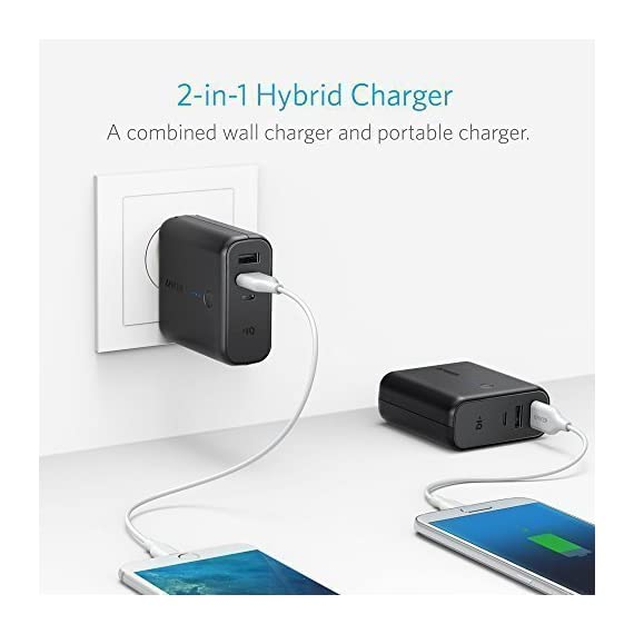 Anker PowerCore Fusion 5000, Portable Charger 5000mAh 2-in-1 with Dual USB Wall Charger, Foldable AC Plug and PowerIQ… 2 The Anker Advantage: Join the 50 million+ powered by America's leading USB charging brand. The Ultimate 2-in-1 Charger: A hybrid high-capacity portable battery and dual-port wall charger in one sleek package. High-Speed Charging: In the wall or on-the-go, Anker's exclusive PowerIQ and VoltageBoost technologies ensure that all devices receive their fastest possible charge. Does not support Qualcomm Quick Charge.