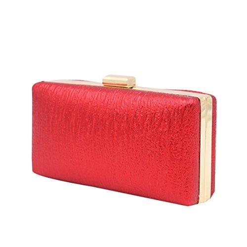 Elegant Hard Clutch Bag PU Color Solid Red Leather Handbag Shine Small Evening OY0rwO
