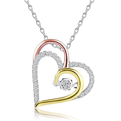 (Caperci Tri-Tone Sterling Silver Cubic Zirconia Double Heart Pendant Necklace for Women, 18'')