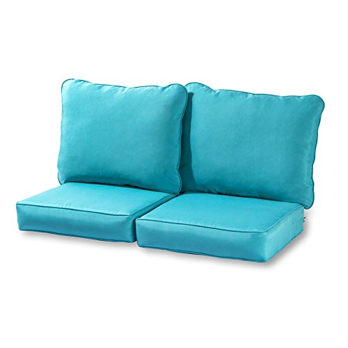 Greendale Home Fashions Deep Seat Loveseat Cushion Set, Teal (Seating Cushion Deep)