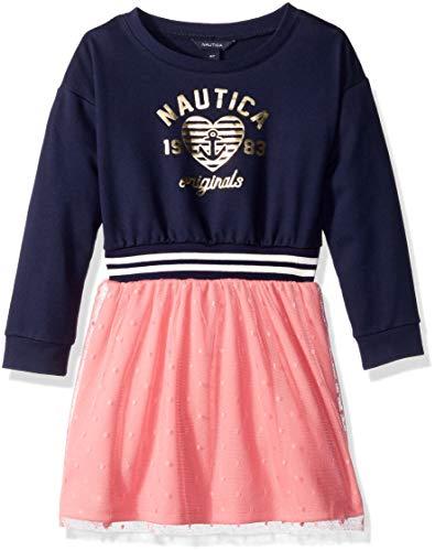 (Nautica Girls' Toddler Sweater Dress, Navy mesh, 2T)