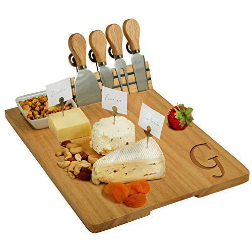Picnic at Ascot Personalized Engraved Hardwood Board for Cheese & Appetizers - Includes 4 Cheese Knives, Cheese Markers & Ceramic Dish - USA Designed & Quality Assured- Letter - G