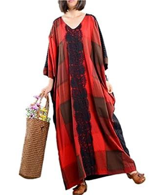 Yesno JM1 Women Loose Plaid Skirt Dress Lace Patched Large Skirt 100% Linen 'V' Neck Raglan Sleeve