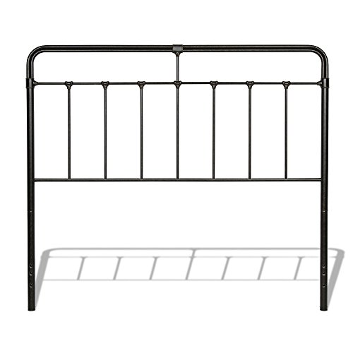 Leggett & Platt Fairfield Metal Headboard Panel with Spindles and Intricate Castings, Dark Roast Finish, King