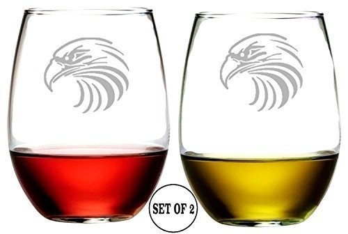 Eagle Stemless Wine Glasses | Etched Engraved | Perfect Fun Handmade Present for Everyone | Lead Free | Dishwasher Safe | Set of 2 | 4.25