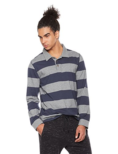 Rebel Canyon Men's Young Long Sleeve Stripe Rugby Polo Shirt Large Heather Grey/ Navy