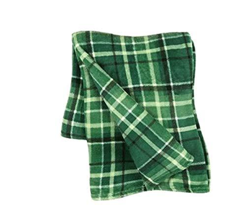 Morgan Home St. Patrick's Day Soft & Cozy Velvet Throw Blanket, 50-Inch x 60-Inch (McKinley Dark Green Plaid) (Plaid Throw Green)