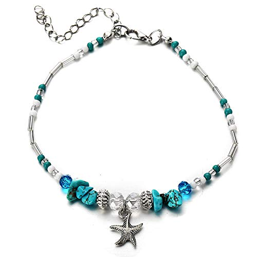FINETOO Blue Starfish Charm and Turquoise Pearl Bead Link Anklet Adjustable Gifts for Women and Girls - Ocean Pearl Bracelets
