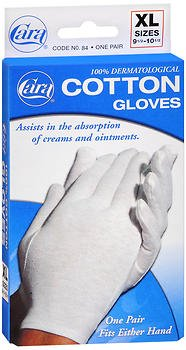 CARA Dermatological Cotton Gloves, Extra Large, 1 Pair